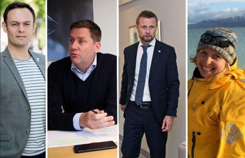 ØNSKET ÅPNING FOR CRUISE: (f.v) Torgeir Knag Fylkesnes (SV)kritiserer åpnign for cruise.  Daniel Skjeldam, Bent Høie og Karin Strand.