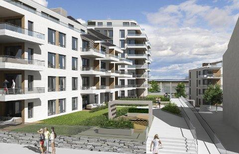 BLOKKER: Et utsnitt av boligblokkene i Kvartal 15 i Gjøvik senrum.ILLUSTRASJON: Make Arkitektur