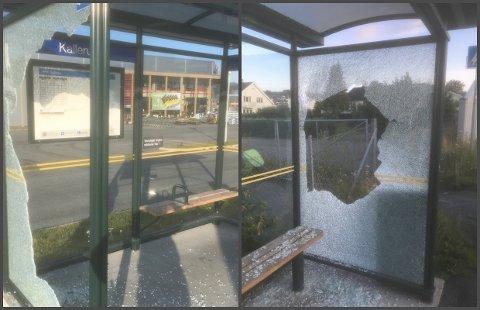 HÆRVERK: To busskur i Gjøvik ble ramponert natt til torsdag.