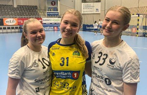 Andrea Holsveen Moen (I midten) og Storhamar 2 satte Hedda Larsstuen (t.v.) og Mari Stensrud på plass i onsdagens 2. divisjonskamp.