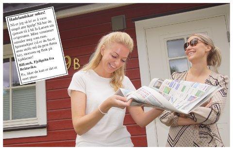 OVERRASKET: Lene Aaserud Larsen ble overrasket av venninnegjengen med kontaktannonse i lokalavisa på 30-års dagen. Venninna Ida Heggen forteller at Lene er ei sporty jente som tåler slik humor.