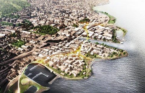 NYTT SENTRUM: Slik så arkitektvinnerne for seg en ferdig utbygget Huntonstrand