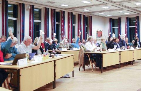 SA JA: Etter votering rundt en del tilføyelser, stemte 39 av 41 representanter i kommunestyret i Ski for rådmannens innstilling om å vedta reguleringsplanen slik veivesenet vil. Bare Aksel G. Roksti og Marthe Arnesen, begge fra MDG, stemte mot. FOTO: METTE KVITLE