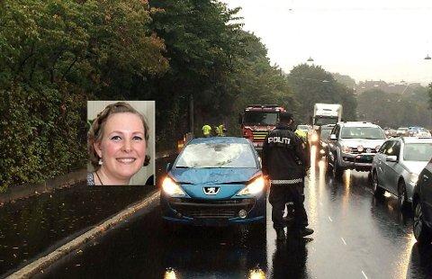 Charlotte Bøhler Wilhelmsen (innfelt) omkom i en påkjørsel. Sjåføren, en kvinne i 50-årene fra Østlandet, er tiltalt for uaktsomt drap og kan ha sovnet bak rattet. Foto: Camilla Svendsen, dittOslo.no.