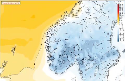 KULDE: Dette er Storms prognose for torsdag morgen.