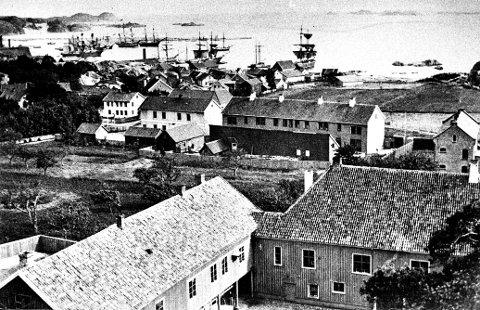 1890: Utsikt fra Herregrdsfjellet ca 1890. Herregården i forgrunnen ned mot Dronningensgate.
