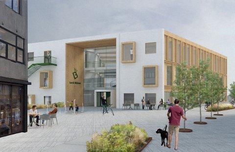 MODERNE: Arkitektstudentene Banin og Andreas har viet sin masteroppgave til å lage et forslag til hvordan Larvik bibliotek kan bli seende ut. Det er moderne, og plassert midt i sentrum.