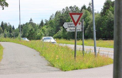 HØYT GRESS: I krysset ut mot Bambleveien på Sundby.