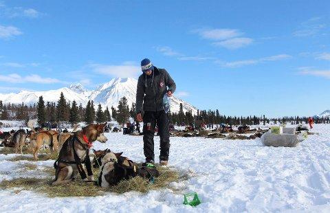 Joar Leifseth Ulsom er på vei mot sjekkpunktet Rainy Pass. Utfordringen er diaré i hundespannet.