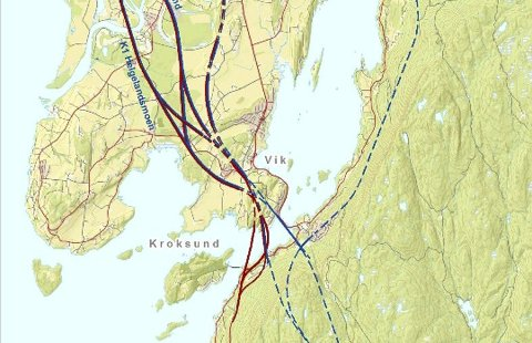 Det er fire aktuelle traseer for hvor veien skal krysse fjorden ved Kroksund, men ingen ting er bestemt.