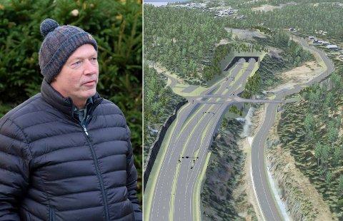 ÅPNER FOR BYGGING: Nye E16 mellom Skaret i Hole og Bjørum i Bærum åpner for boligbygging, og den vil Hjalmar Sørgård være med på. Illustrasjon: Statens Vegvesen/ViaNOVA