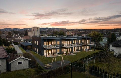 BENTERUD: Sivilarkitekt Ole Alexander Heen har tegnet åttemannsboligen på Benterud. I bakgrunnen ser man blant annet Ringerike rådhus. Illustrasjon: Goldbox