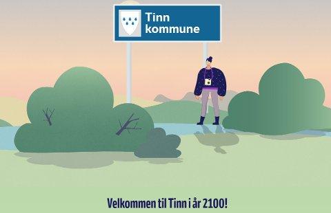 KLIMA: Forsiden på NRKs Klimabarometer for Tinn. Sjekk ut prognosene  for Tinn her.. (foto NRK)