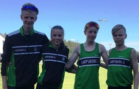 LOVENDE: Sindre Fredriksen (fra venstre), Maiken Prøitz, Marcus Dahl-Rismyhr og Benjamin Olsen er lovende friidrettsutøvere fra SIL.