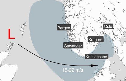 Søndag og mandag er det ventet mye vind langs kysten av Sør-Norge. Det er usikkert hvor og når den kraftigste vinden kommer. Foto: Meteorologisk Institutt