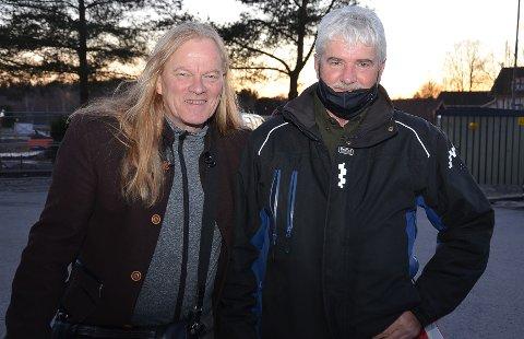 """TO SENTRALE: Vokalist Eirikur Hauksson (t.v.) og originalmedlemmet Harald Lytomt fra Trømborg gledet seg stort til kveldens to konserter med Kerrs Pink i Festiviteten - samme dag som de slapp sitt nye album """"Presence of Love"""". – Dette er vårt 14. album siden starten tidlig på 1970-tallet, sier Lytomt o progrockbandet stolt"""