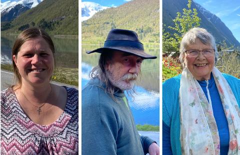 MEININGAR PÅ LAND: Gjertrud Totland Feten, Dag Anton Boge og Sigvor Rendedal fekk denne veka heilt ny utsikt frå heimane sine.
