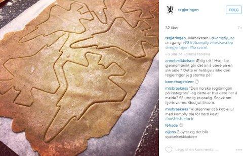 Regjeringen la ut dette bildet på Instagram-kontoen sin mandag, og fikk mye kritikk for å koble julekaker og kampfly. Foto: Skjermdump (Instagram)