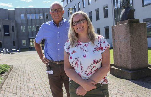 ENESTE GJENVÆRENDE FRA HYDRO: Kun Marianne Mælum og Tor Haukedal er igjen i bygg 25 fra det gamle Hydro. Avviklingen av Interessen er et spesielt kapittel.