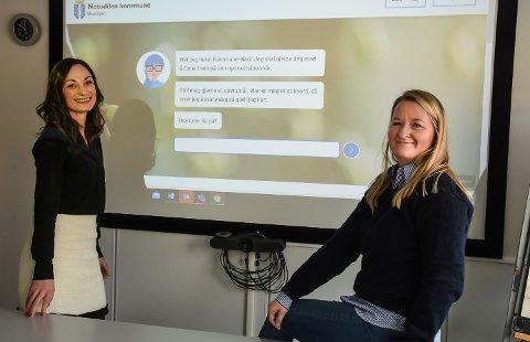 NY NETTSIDE: Nettredaktørene Benedicte Sebjørnsen og Elin Velta Svartdal håper innbyggerne vil få raskere og bedre hjelp på den nye nettsiden til Notodden kommune, som ble lansert denne uken.