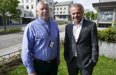 Samstemt: Torbjørn Sagen og Kjell Neergaard ser fram at det skal legges en ny kabal med fordeling av nye oppgaver i Møre og Romsdal.