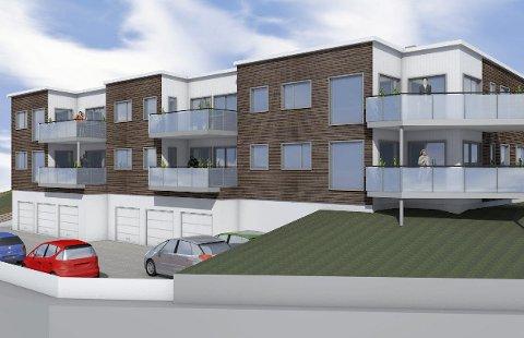 Storskarven: Leilighetesbygg i tre etasjer med garasjeanlegg, heis, balkonger og felles uteområde. Illustrasjon: KBBL
