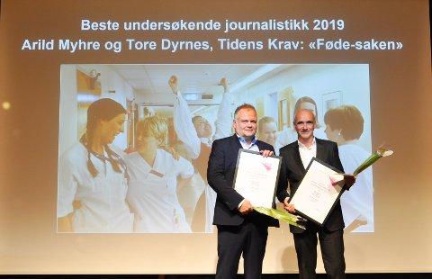Journalistene Arild Myhre (til venstre) og Tore Dyrnes i Tidens Krav vant Amedias pris for Beste undersøkende journalistikk i 2019.