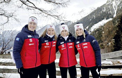 VM-klar: Synnøve Solemdal (fra venstre), Ingrid Landmark Tandrevold, Tiril Kampenhaug Eckhoff og Marte Olsbu Røiseland under et pressetreff i forbindelse med VM i skiskyting. Foto: NTN Scanpix