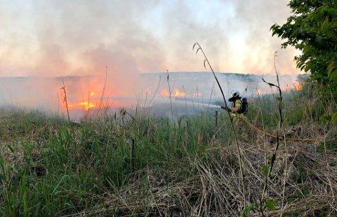 Heldigvis fikk brannmannskapene raskt kontroll på brannen.