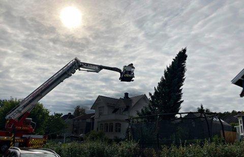 BRUKTE LIFT: Brannvesenet rykket ut for å hjelpe til.