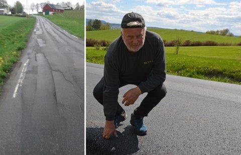 GAMMELT OG NYTT: Det holder ikke å legge nytt dekke når det ikke er gjort mer med det som ligger under, mener Roger Høiberg som tok bilder av asfalten slik den så ut før nytt dekke ble lagt.