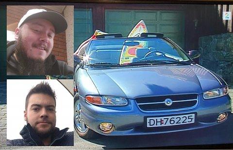 TV-BIL: Kim Daniel Vorpvik (nederst) og Jan-Erik Lie har sikret seg den siste bilen som er igjen av dem som brukt i innspillingen av TV-serien Mot i brøstet.