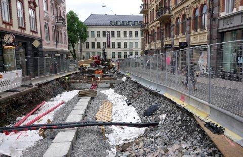 «EKSTREM OPPUSSING»: Det vil bli stort behov for oppgradering av vannettet i Norge i nær framtid, som man gjorde i Hegdehaugsveien i Oslo i 2012.