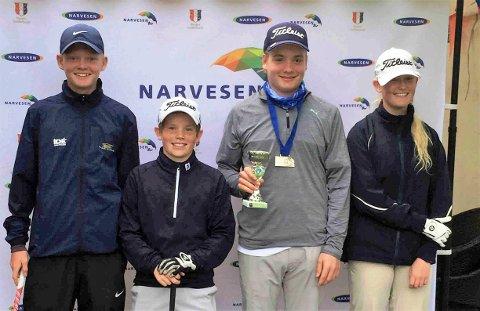 Totalt fire unge spillere fra Drøbak Golfklubb deltok i søndagens turnering Narvesen Tour i Drøbak – fra venstre Alexander Naglestad, Karl Ferdinand Støre, Philip Linberg Bondestad og Christine Naglestad. (Foto: DGK)