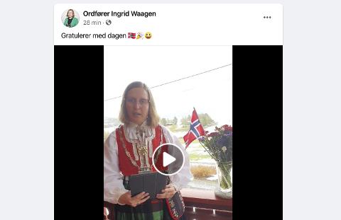 Ingrid Waagen. For å se talen, trykk linken under i teksten.
