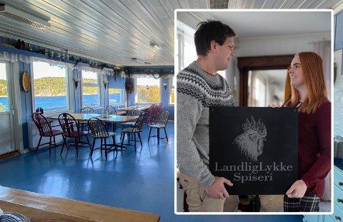FRA HAVGLØTT TIL LANDLIGLYKKE: Haakon Rakvaag (t.v.) og Katrine Pedersen åpner LandligLykke Spiseri, tidligere kjent som Havgløtt Kafé, i juni 2021.