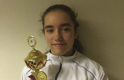 Nummer to: Marie Scarica ble nummer to blant de 16 i sin klasse denne helga.Foto: privat
