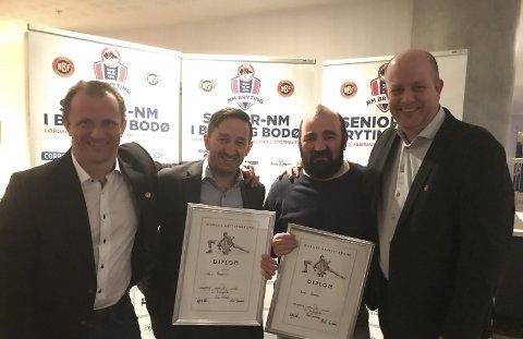 Ørjan Wenberg, her samen med Anders Hammer, Thomas Hammer og generalsekretær Morten Sandnæs, har blitt gjenvalgt som president.