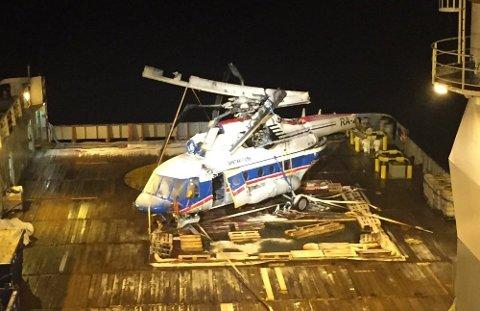 VRAKET: Helikoptervraket ble funnet på bunnen i fjorden og hevet.