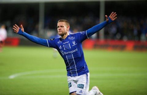 Ole Jørgen Halvorsen jubler etter å ha gitt Sarpsborg 08 ledelsen 3-1 hjemme mot Tromsø i forrige hjemmekamp. Kampen endte 3-2.