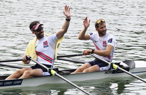 Kristoffer Brun (t.h) og Are Strandli (t.v) har hatt stor suksess sammen i dobbeltsculler lettvekt. De ble verdensmestere i 2013. I OL i Rio i 2016 ble det bronse. I tillegg har de tre bronsemedaljer og ett sølv fra EM.