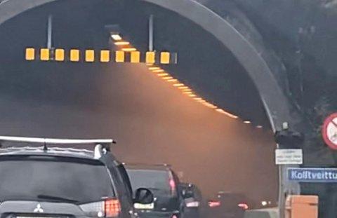 Slik så det ut i Kolltveittunnelen like før den ble stengt.