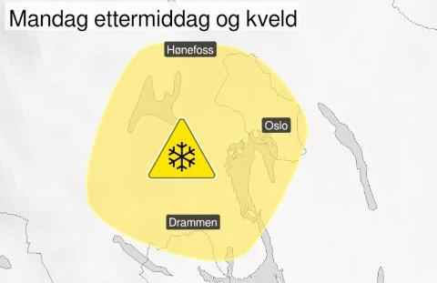 FAREVARSEL: Meteorologisk Institutt har sendt ut gult farevarsel for Oslo, Akershus og Buskerud.