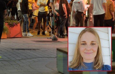 UTELIV: Kommuneoverlege Ingeborg Johannessen (innfelt) har fått rapport om store ansamlinger av personer på Bragernes torg natt til søndag 20. juni. (ILLUSTASJONSFOTO / PRIVAT)