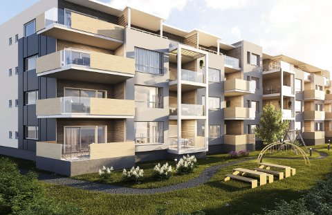 SLIK: I Støperigata ligger det nå to eneboliger. De skal rives for å bygge dette; 27 nye hjem midt Hokksund sentrum. Illustrasjon: Arkitektgruppen Drammen