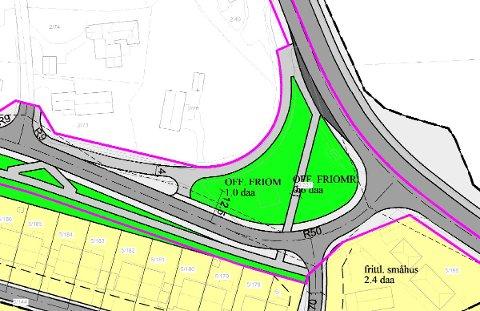 Gjeldende reguleringsplan viser hvordan krysset mot fylkesveien skal endres. Avkjøringen til Bjerklundsbakken vil bli der Bakkeveien kommer ut i dag.