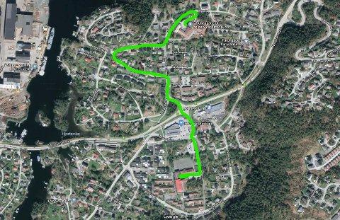 KROIKANETOGET: Startar ved sjukeheimen ned Jakob Sandeveg og vestover Selhaugvegen opp Bekkefaret til Jakob Sandeveg og sørover over rundkøyringa til Krokane skule.