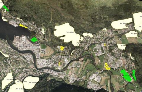 UTBYGGINGSOMRÅDE: Dette er aktuelle område for tettstadnær bustadbygging i Førde. Dei grøne områda viser areal for einebustadtomter, dei gule er tenkt nytta til konsentrert utbygging. Dei kvite områda er ikkje prioriterte. Her finn vi mellom anna Førdslia (midt på biletet) og oppe til høgre Slåttelia og felt på Tefre og Hjelle. Silingsrapporten går no til politisk behandling.