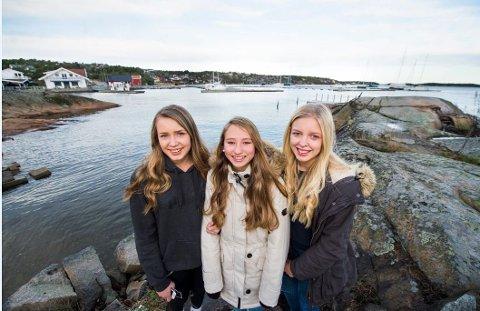 Sier nei: 14-åringene Lina Marie Skinstad, Isabell Lagestrand Lund og Selma Eline Olsen vil ikke at Hvaler skal bli slått sammen med Fredrikstad. Det ga de uttrykk for da FB intervjuet dem for noen måneder siden. Foto: Erik Hagen
