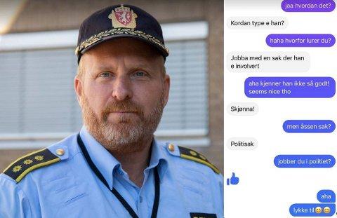 Stasjonssjef Ivar Prestbakken vil ikke kommentere enkeltsaken der en politibetjent skal ha brukt Facebook til å spørre ut om en 25 år gammel mann, men bekrefter det på generelt grunnlag ikke er måten politiet skal jobbe på.
